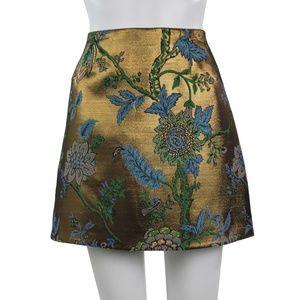 River Island Metallic Gold Floral Mini Skirt